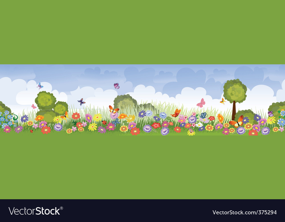 Seamless flower fields vector