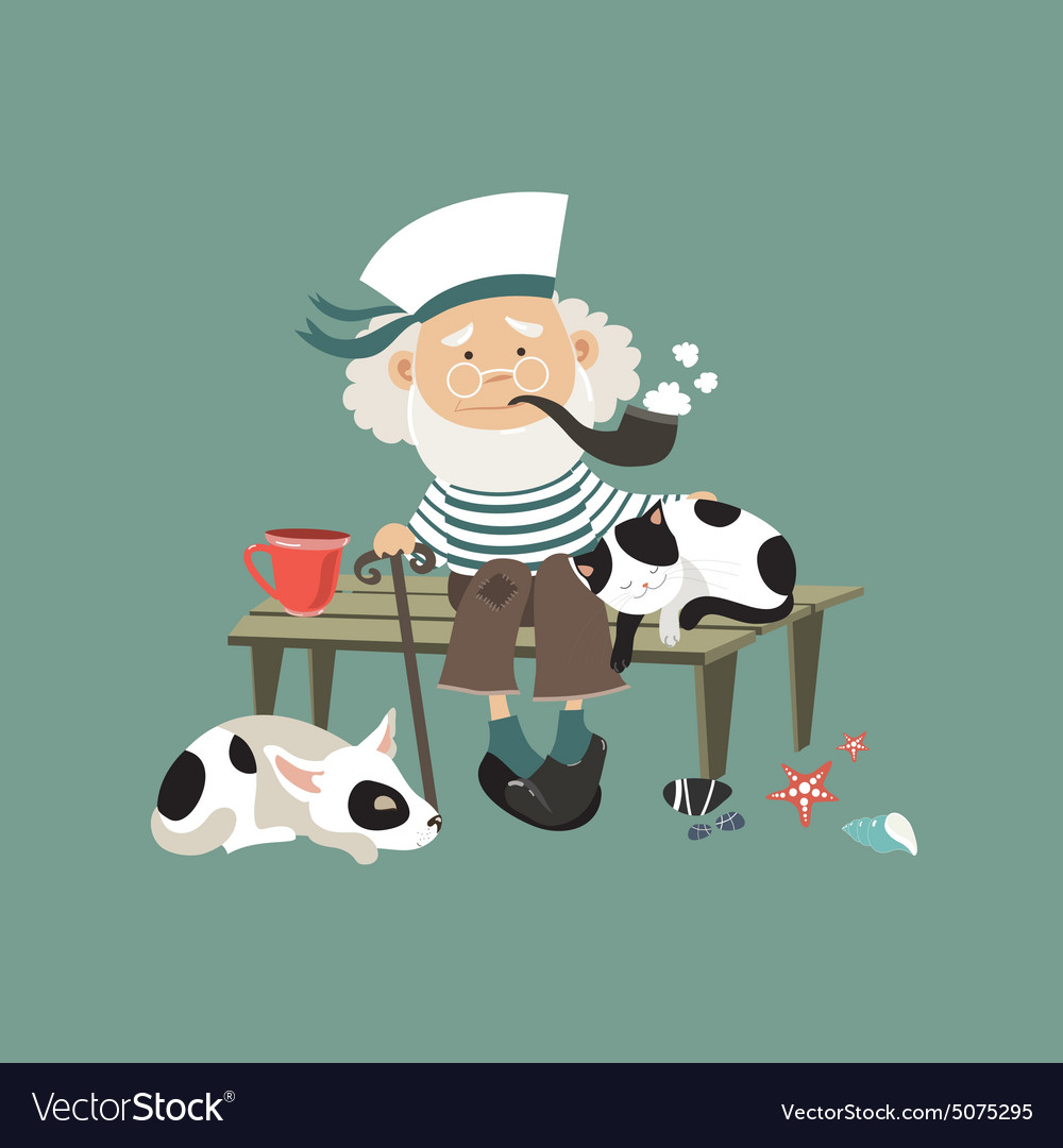 Old sailor sitting on bench with cat and dog vector