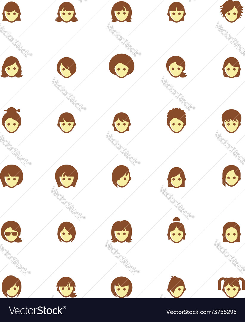 Women faces icon set vector