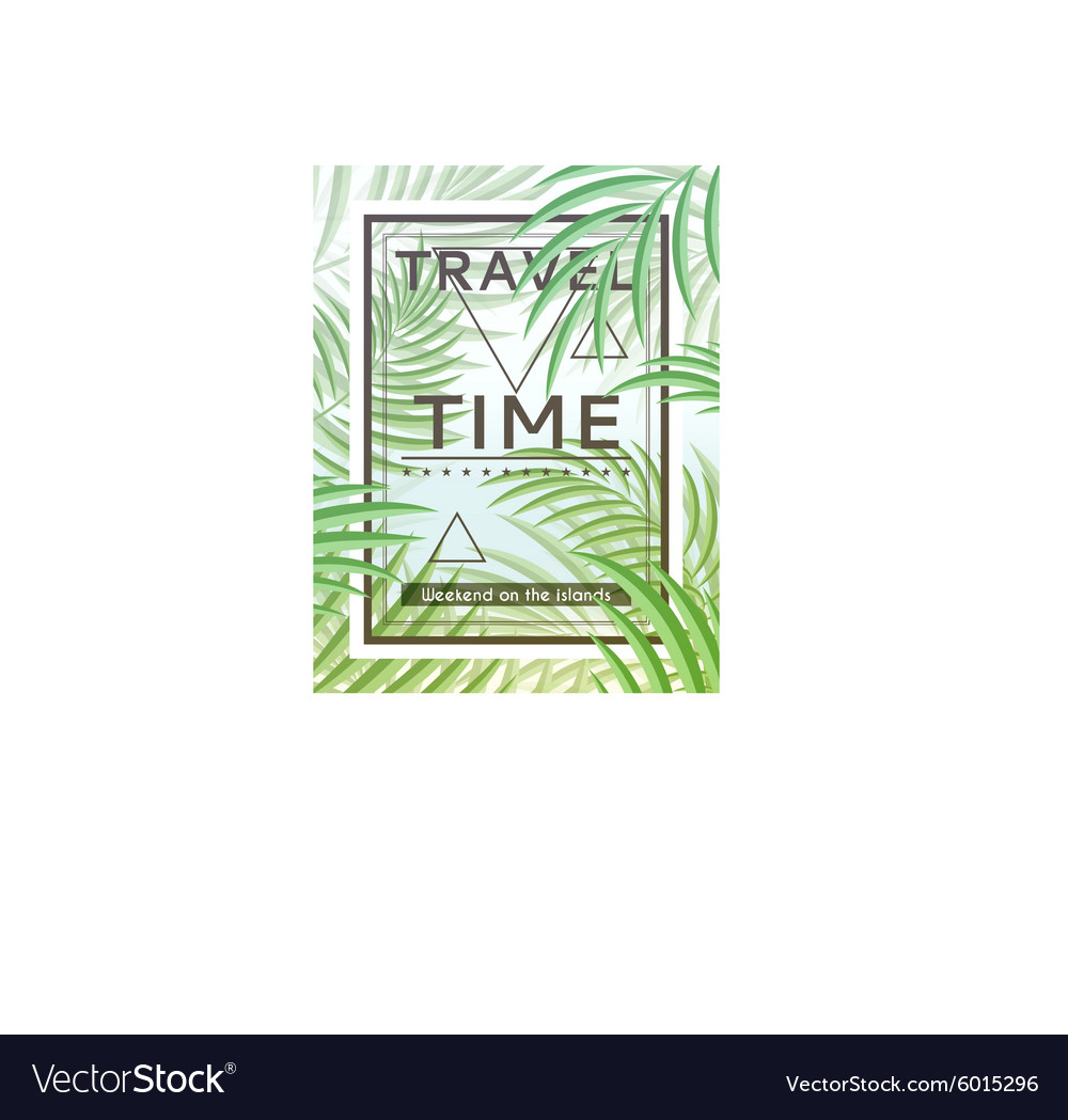 Exotic background with palm leaves and frame for vector