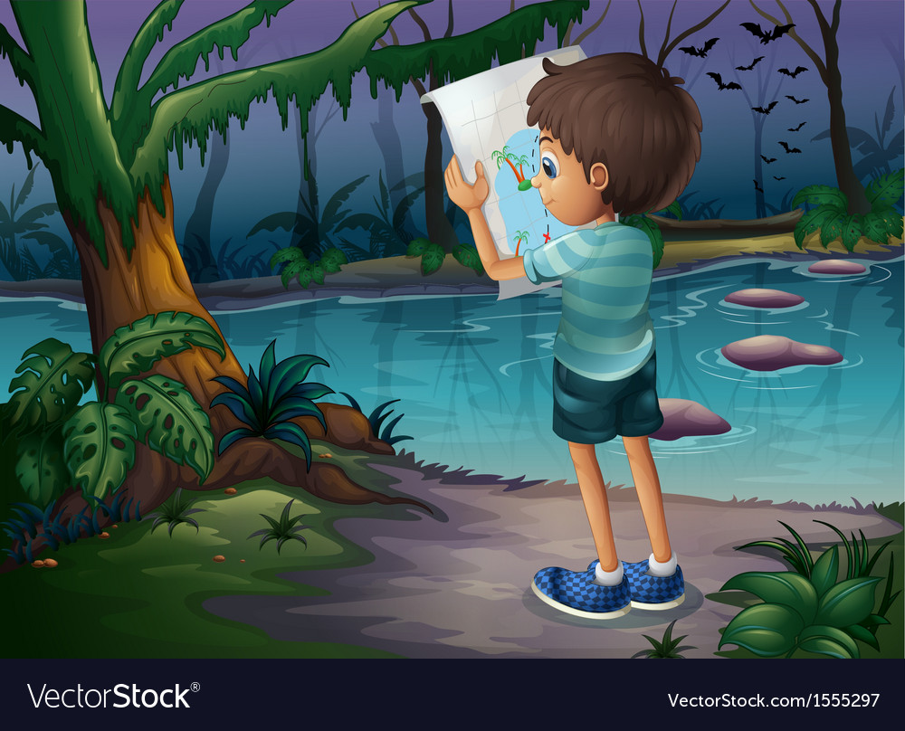 A boy with a map standing in the middle of the vector