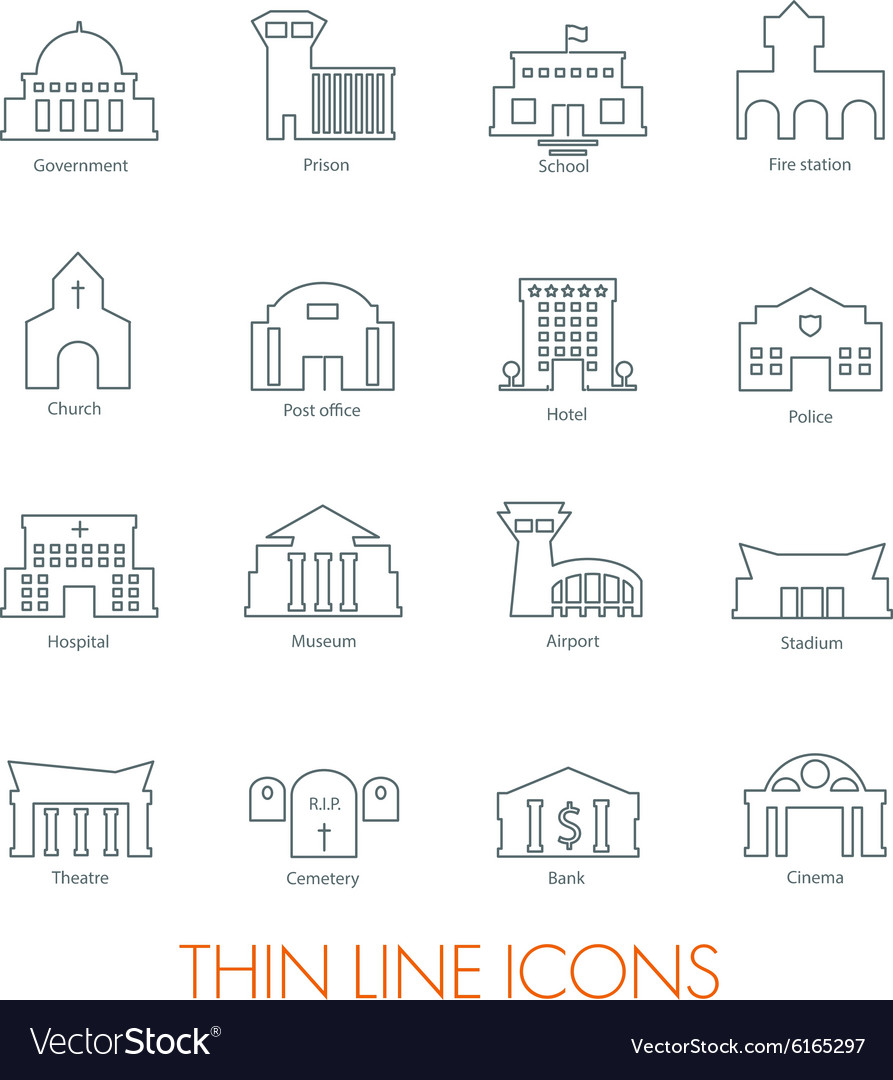 Set of government buildings vector