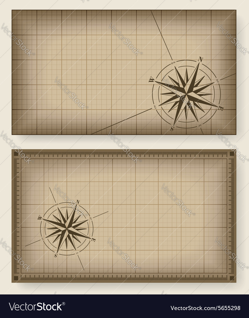 Blueprint background with compass rose vector