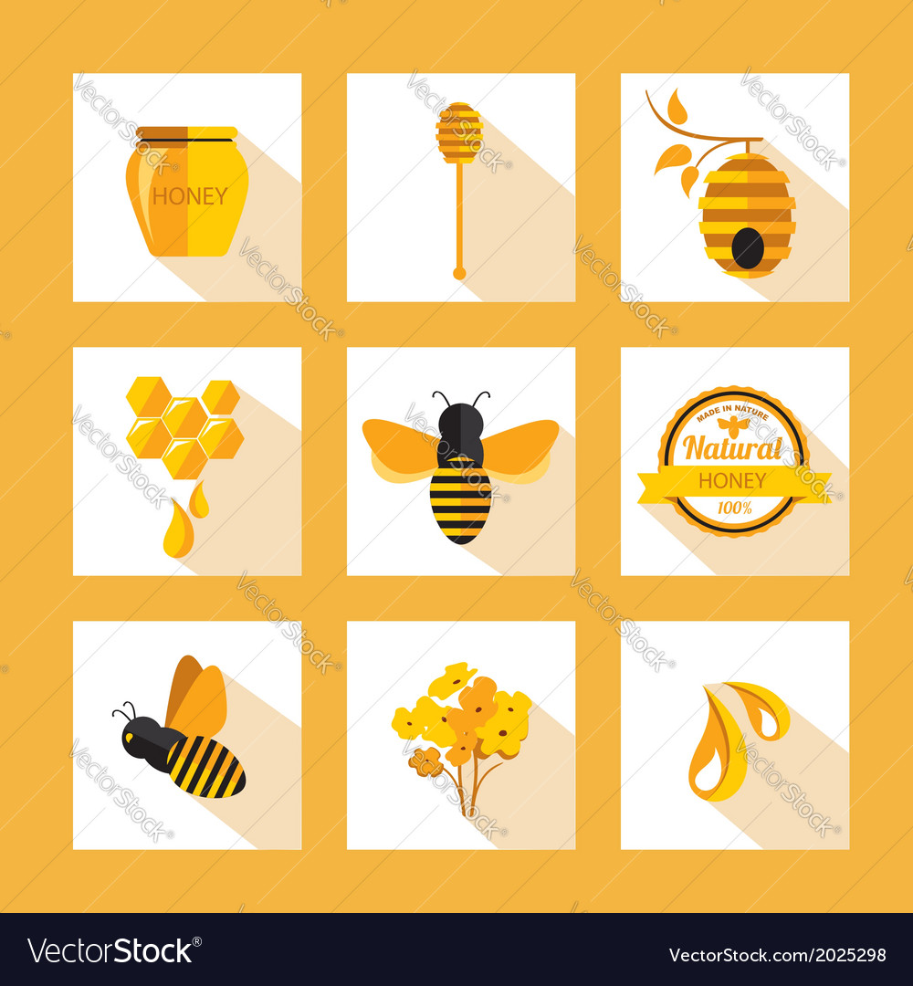 Set honey badges and labels abstract bee design vector