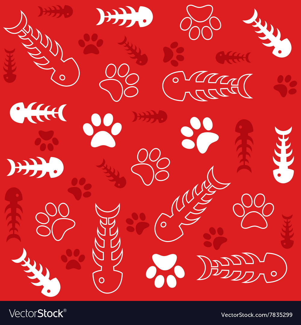 Fishbones and cats paws background vector