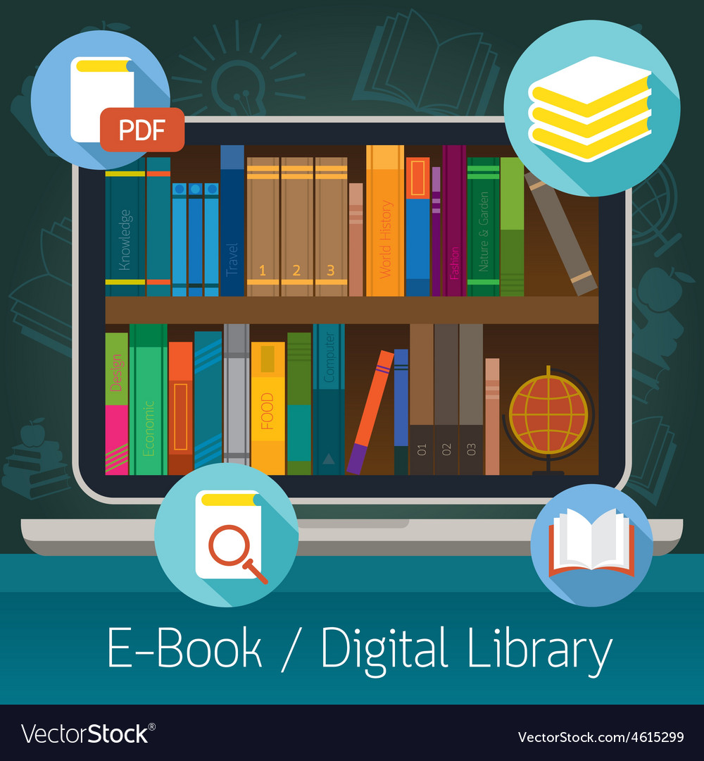 Laptop and books ebook and digital library vector