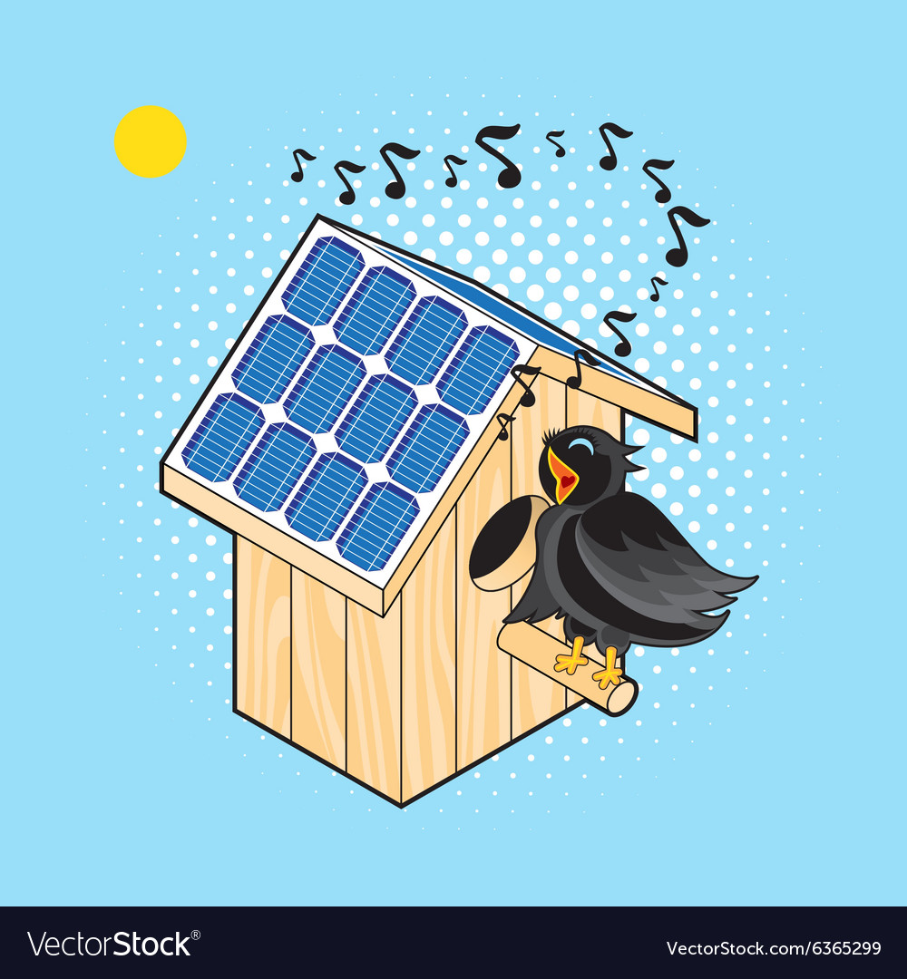 Starling and nesting box with solar panel vector