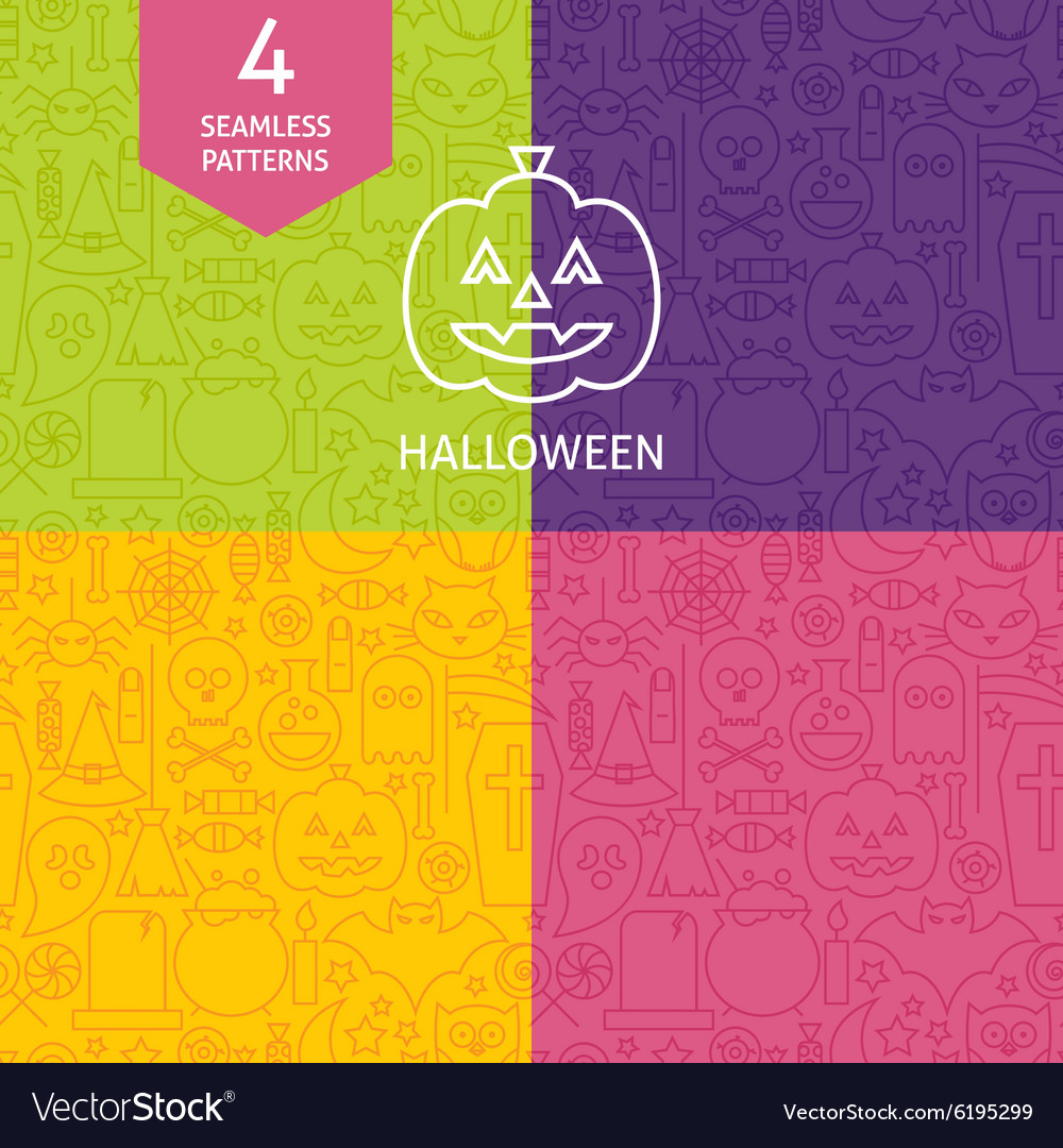 Thin line halloween holiday patterns set vector