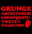alphabet in red grunge style devil designed vector image