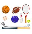 sports equipment in cartoon style balls vector image