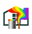 brush and a bucket of paint for the house vector image vector image