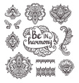 Set of Ornamental Boho Style flowers and elements vector image vector image