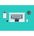 Workspace with laptop and coffee vector image