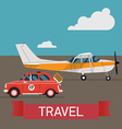 Small Plane Travel Icon with a Car vector image