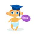cute baby boy weating graduation cap toddler happy vector image