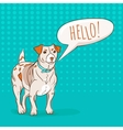 Cute Jack Russel Terrier dog saying HELLO to you vector image
