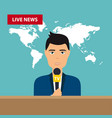 male tv presenters sit at the table live news vector image