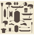 Rafting sport items silhouette icon set Oar and vector image