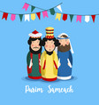 purim sameach holiday greeting card for the jewish vector image
