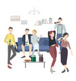 home party with dancing drinking people flat vector image