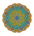 mandala doodle drawing round ornament blue gray vector image