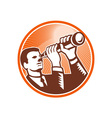 Businessman Holding Looking Telescope Woodcut vector image