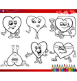 valentine cartoons for coloring vector image