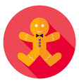 Flat Design Gingerbread Man Cookie Circle Icon vector image