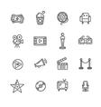 Cinema Outline Icon Set vector image