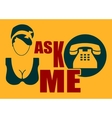 Female call center operator icon Vintage style vector image