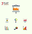 flat icon graph set of easel graph chart and vector image