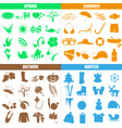 four seasons of the year big set of icons eps10 vector image