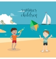 Girls and Boys Playing on the Beach vector image