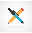 Pen and pencil flat color icon vector image