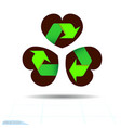 recycled materials green symbol located on vector image