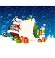 Santa Claus and snowman standing next to a scroll vector image vector image