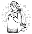 Sad ethnic style girl with sun at her back vector image vector image