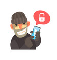 smiling cartoon hacker holding a hacked smartphone vector image vector image