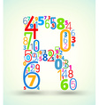 Letter R colored font from numbers vector image