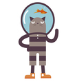 Cartoon cat with fish vector image vector image