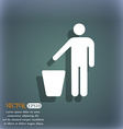 throw away the trash icon symbol on the blue-green vector image