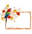 frame with parrot vector image