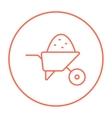 Wheelbarrow full of sand line icon vector image