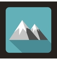 Mountains with snow icon flat style vector image