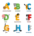 alphabet sport from A to I vector image