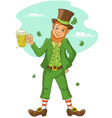 Friendly leprechaun with beer for St Patricks Day vector image