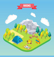 hiking in mountain forest isometric concept vector image