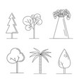 set of cute trees cartoon style vector image
