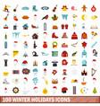 100 winter holidays icons set flat style vector image