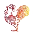 Red fiery hand drawn ornate rooster - Chinese vector image